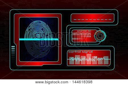 Illustration of Scanning human fingerprint technology background