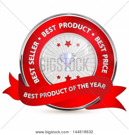 Best seller, Best product, Best price, best product of the year - shiny red label / icon for business purposes / retail industry