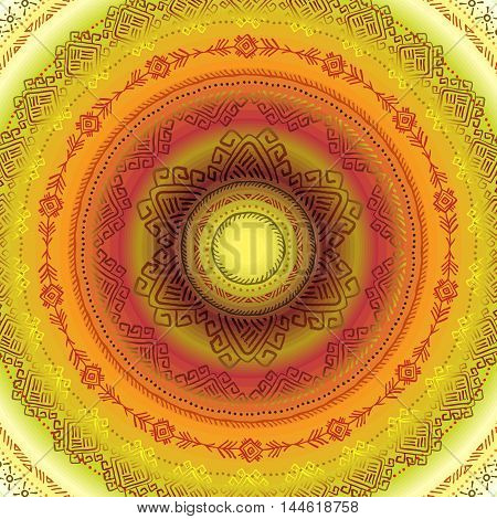 Sunny circle tribal ornament frame with yellow orange background. Sun concept. Geometric ethnic colorful design. Vector illustration stock vector.