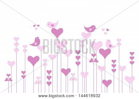 Abstract pink heart garden with lovebirds on white, vector illustration