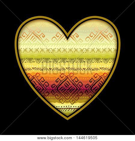 Love card with black heart shape and horizontal seamless tribal ornament pattern in lidht background. Geometric ethnic colorful design. Vector illustration stock vector.