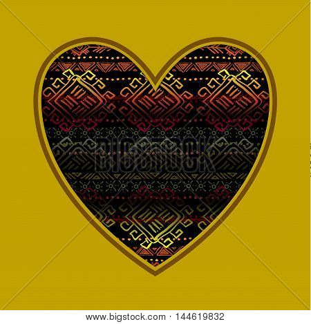 Love card with heart shape and horizontal seamless tribal ornament pattern in black background. Geometric ethnic colorful design. Vector illustration stock vector.