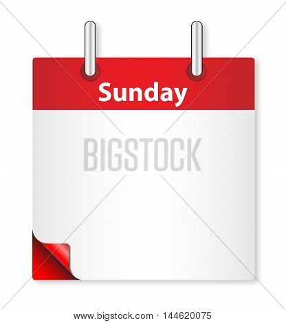 A calender date offering a blank Sunday page over white