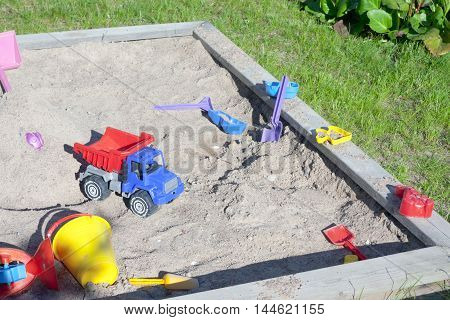 Wooden Sandpit In The Garden