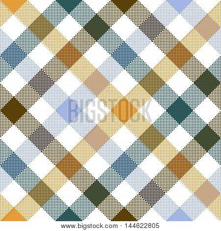 Colored diagonal check seamless fabric texture. Vector illustration.