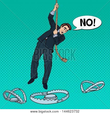 Stressed Business Man on the Rope Falls into the Trap. Pop Art Vector illustration