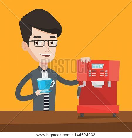 Young happy man making coffee with a coffee-machine. Man holding cup of hot coffee in hand. Smiling man standing beside a coffee machine. Vector flat design illustration. Square layout.