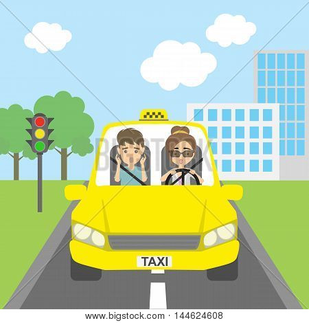Taxi driver with passenger. Riding on the city street. Yellow car for urban service. Scared female driver and male passenger.