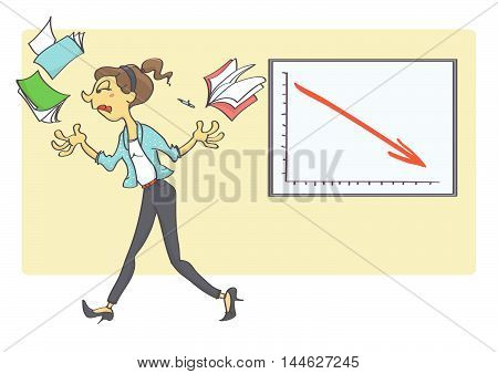 Business woman quitting her business because of bad business indicators. Business crisis situation in the office.