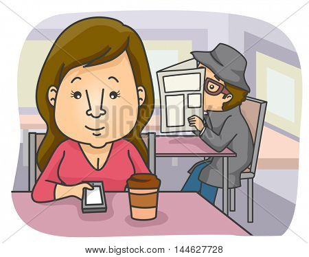 Illustration of a Woman in a Cafe Being Stalked