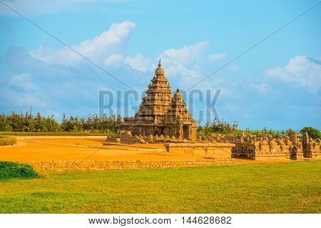 Beautiful Landscape Of Ancient Monolithic Famous Shore Temple Near Mahabalipuram, World Heritage Sit