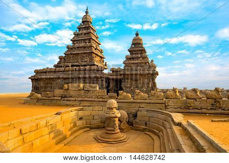 Monolithic Famous Shore Temple Near Mahabalipuram, World Heritage Site In Tamil Nadu, India