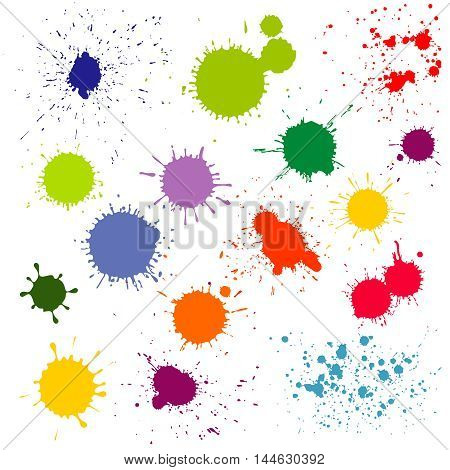 Color paint splatter, ink blots vector collection. Splash and colored stain illustration