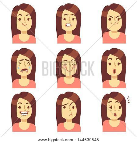 Woman, girl face emotions expression vector avatar icons. Emotional sad and angry, unhappy and fear illustration