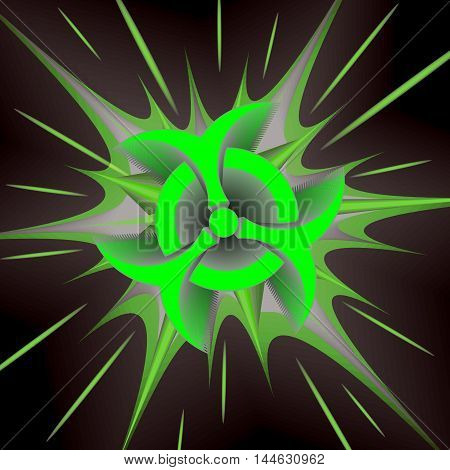 Biohazard Bang comic cartoon. Vector illustration with green star on black background and biohazard symbol. Explosion template.