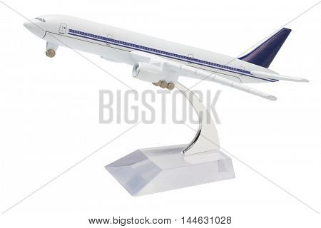 Miniature Model Of Commercial Jetliner on white Background