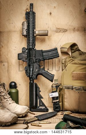 Assault rifle - special forces. Bulletproof vest