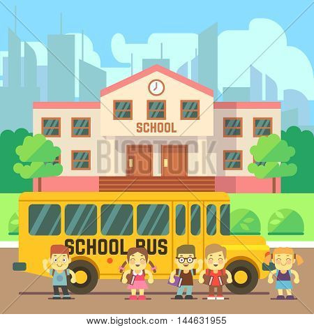 School building, bus and pupils. Back to school vector flat concept