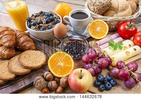 A continental breakfast - food on background