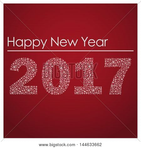 Red Happy New Year 2017 From Little Snowflakes Eps10