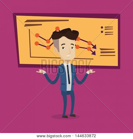 A stressed businessman with spread arms standing on the background of board with decreasing chart. Bankrupt business man.Concept of business bankruptcy. Vector flat design illustration. Square layout.