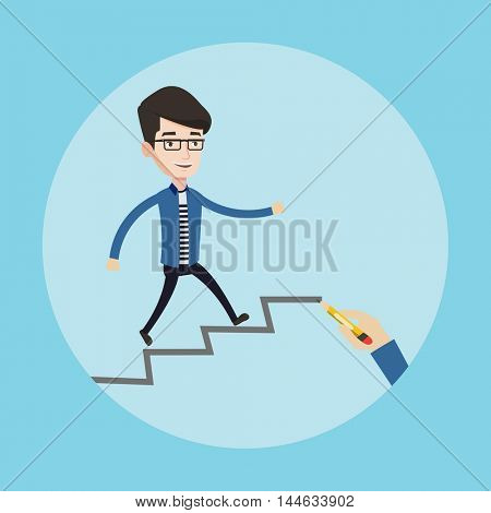 Young businessman running up the stairs drawn by hand with pencila. Happy businessman climbing the career ladder. Concept of business career. Vector flat design illustration. Square layout.
