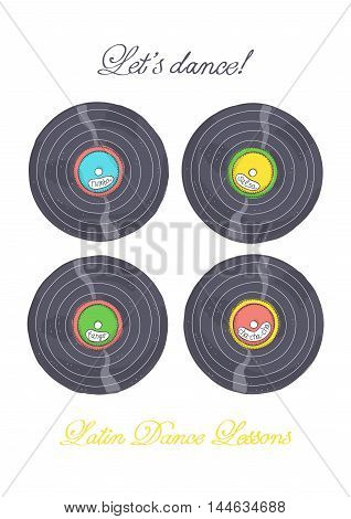 Vinyl records with Latin music for dance lessons.