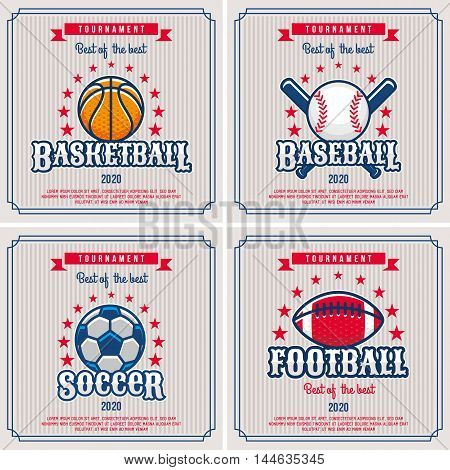 Set of sport badge logo emblem tournament in vintage retro style template.