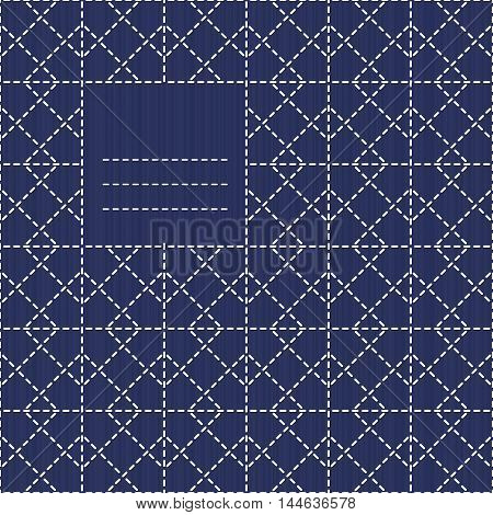 Text frame with rhombs. Sashiko motif. Can be used as seamless pattern. Copy space for text. Abstract backdrop. Traditional Japanese Embroidery Ornament. Endless background. Monochrome.