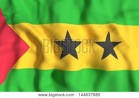 Democratic Republic Of Sao Tome And Principe Flag Waving