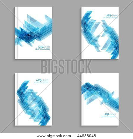 Magazine Cover with blue stripes corner, triangles. For book, brochure, flyer, poster, booklet, leaflet, postcard flier  headline annual report vector abstract background