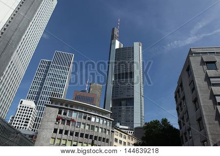 FRANKFURT AM MAIN, GERMANY - JUNE 14, 2015: Commerzbank Tower designed by Norman Foster in the Bankenviertel (banking district) in Frankfurt am Main, Hesse, Germany.