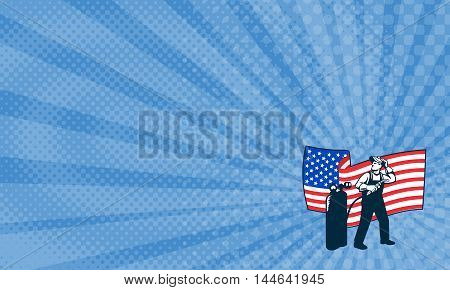 Business Card showing Illustration of welder worker standing with visor up looking to the side holding welding torch with tank viewed from front with usa american stars and stripes flag wavy waving in the background done in retro style.