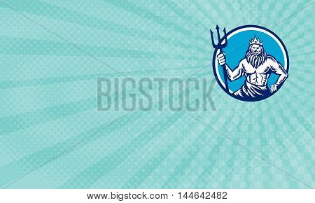 Business Card showing Illustration of a poseidon god of the sea holding trident viewed from front set inside circle on isolated background done in retro woodcut style.