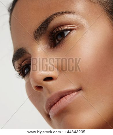 Closeup Portrait Of Woman's Face With Ideal Skin