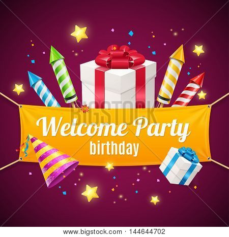 Welcome Birthday Card with Rockets and Gift Box. Vector illustration