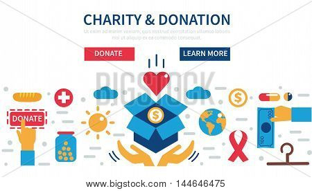 Donation vector concept illustrations. Concept for web banners websites infographics.