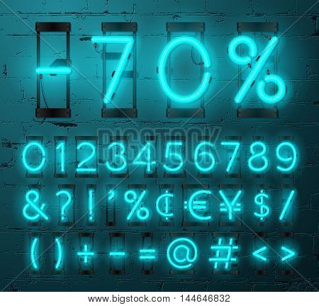 Neon Light Alphabet Vector Font. Numbers and punctuation marks. Neon tube letters on Brick wall background