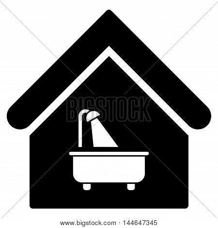 Bathroom icon. Vector style is flat iconic symbol, black color, white background.