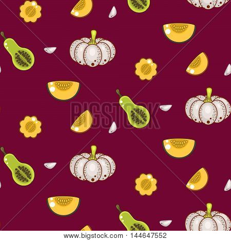 Autumn harvest seamless vector pattern. White gourds pumpkins and garlic cloves repeat vinous background.