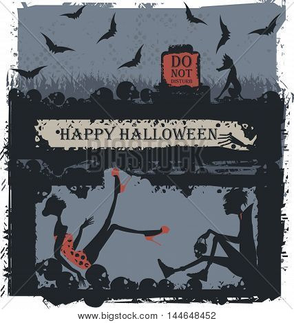 Stylish illustration of vampire and scared women. Woman in horror at the Halloween party with a vampire. Halloween Greeting card.