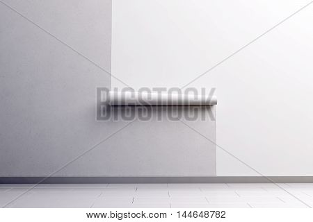 Blank white wallpaper hanging on the wall design mock up clipping path 3d rendering. Paperhanging surface mockup. Home decoration tapestry scroll template. Blanket canvas in the room interior.
