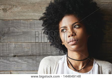Highly-detailed Portrait Of Good-looking Dark-skinned Young Woman With Perfect Skin And Stylish Afro