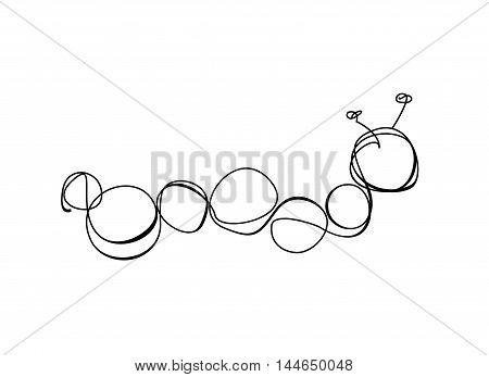 Caterpillar sign. Linear vector black on white