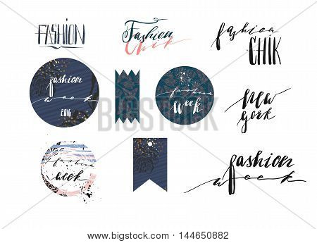 Hand drawn vector template collection with handwritten lettering phases New York fashion week and fashion chikbannerspostersstickerssign and design elements for fashion blog or show.