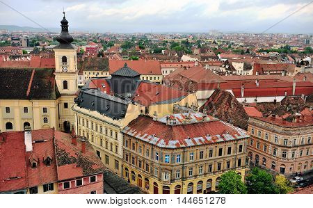 SIBIU ROMANIA - MAY 4: Roofs and tower of Sibiu historical centre Romania on May 4 2016. Sibiu is the city in Transylvania province Romania.