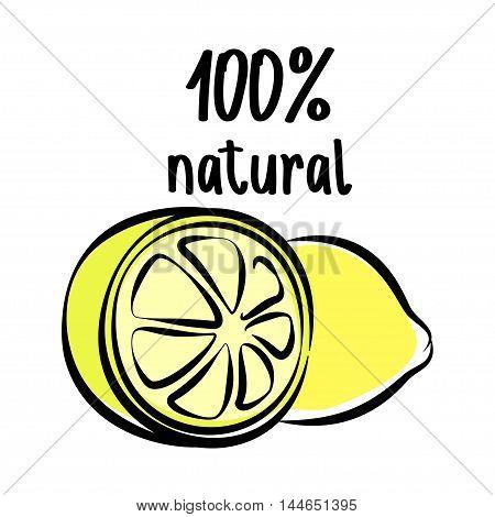 Lemon sketch logo, outline icon. Vector illustration