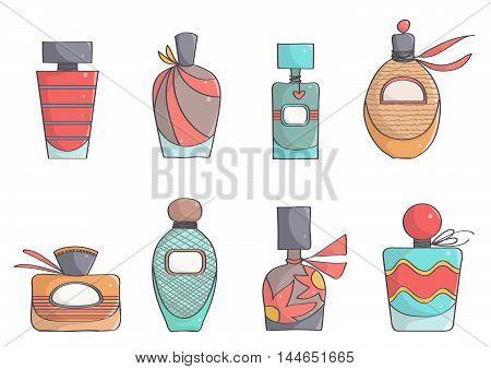 Set of cute, colorful perfume bottles. Stylish, trendy perfumes.