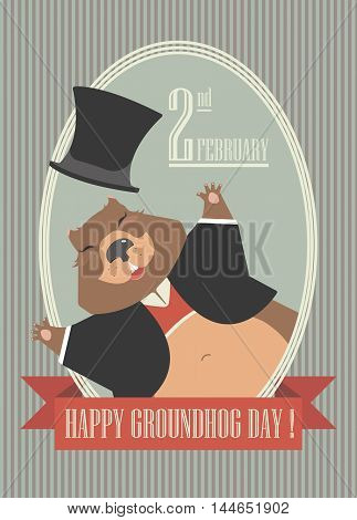 Happy Groundhog Day design with cute groundhog can be used for greeting card ,cover and more designs.