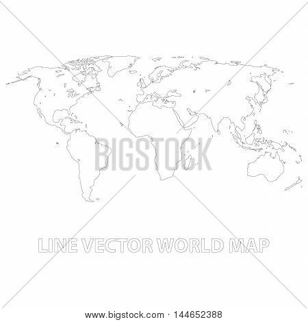 Abstract world map background. World map outlined by thin stroke on white background.